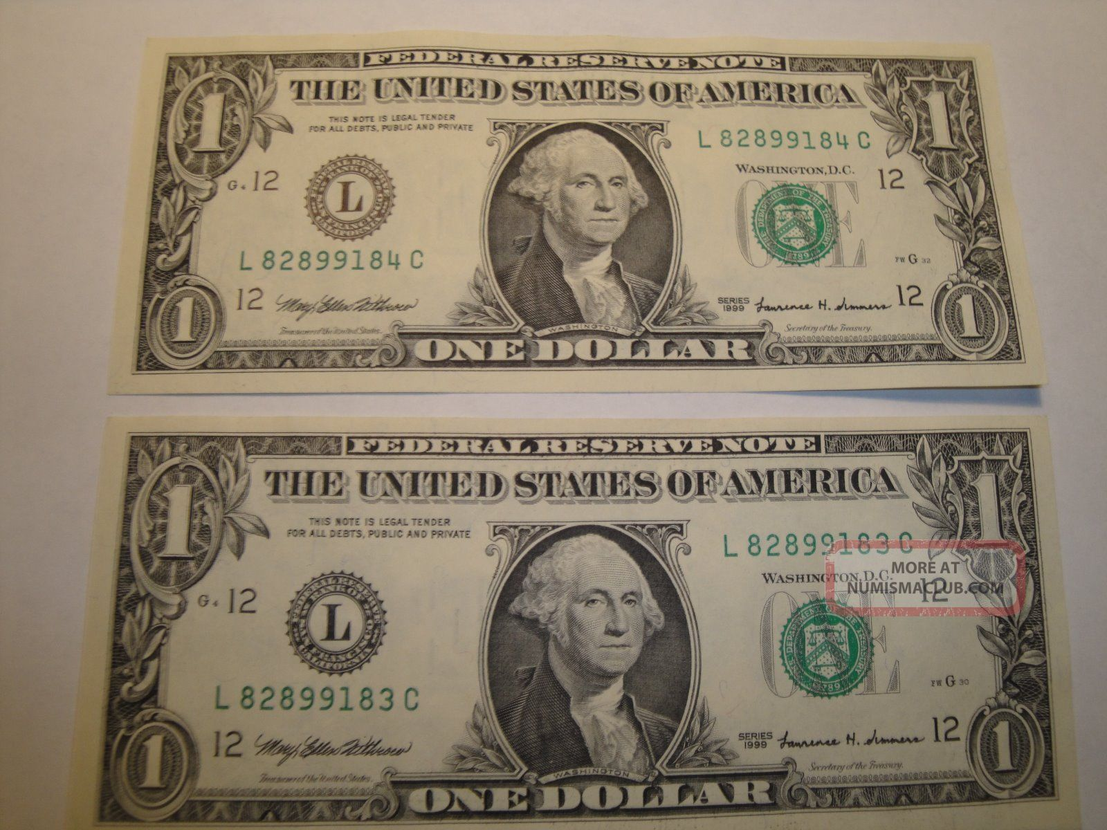 (1) $1.  00 Series 1999 Federal Reserve Note Bu Uncirculated. Small Size Notes photo