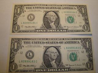 (1) $1.  00 Series 1999 Federal Reserve Note Bu Uncirculated. photo