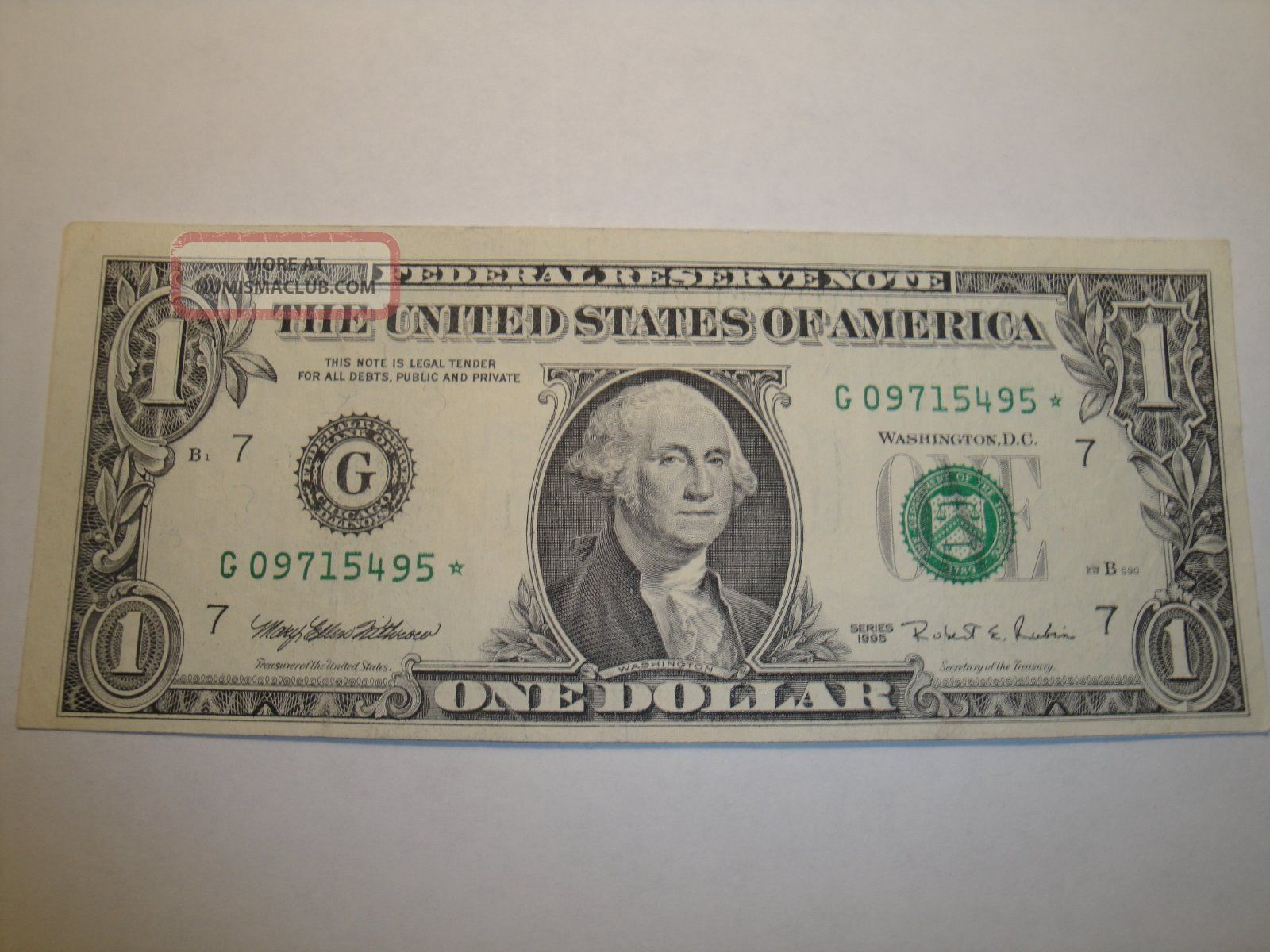 (1) $1.  00 Series 1995 Federal Reserve Star Note Au Circulated. Small Size Notes photo