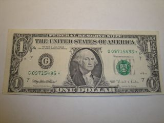 (1) $1.  00 Series 1995 Federal Reserve Star Note Au Circulated. photo