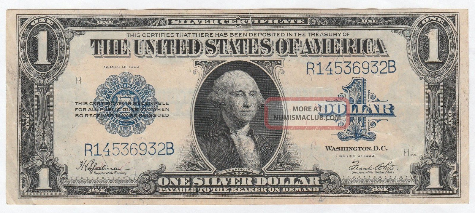 Circulated 1923 Silver Certificate - - Ungraded $1 Large Size Note 256,  Fr.  237 Large Size Notes photo
