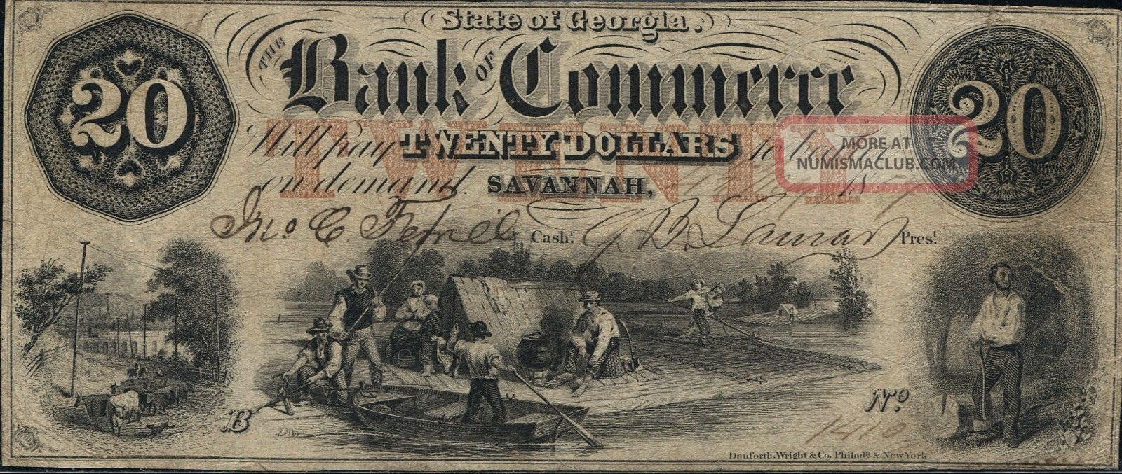 State Of Georgia Bank Of Commerce 20 Dollars Savannah 1857 Xf Paper Money: US photo