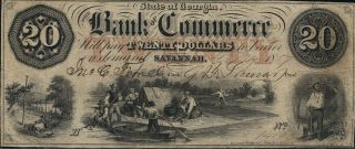State Of Georgia Bank Of Commerce 20 Dollars Savannah 1857 Xf photo
