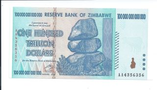 Zimbabwe 100 Trillion Dollars Banknote Note Bill 2008aa Unc Wth Authenticity photo