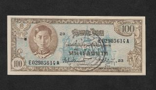 Thailand Siam 100 Thai Baht 1946 Nd King Rama Viii Us Printing Extremely Rare photo