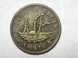 Jamaica 1844 Thomas Lunde & Co Kingston Jamaica Earl Of Elgin Steamship 23mm Br. photo