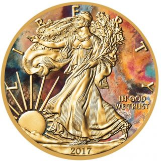 2017 1 Oz Silver American Eagle Aquarelle Coin - 24k Gold Gilded,  Box And photo