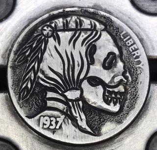 1937 Classic Coin Art Hobo Nickel Death 7 photo