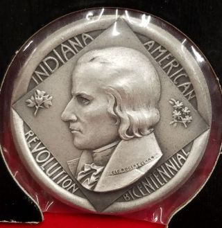 1976 Indiana American Revolution Bicentennial Medal.  999 Silver Medallic Art Co. photo