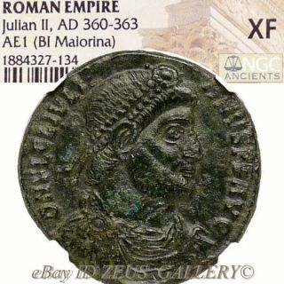 Julian Ii / Bull Ngc Xf Ae1 Double Maiorina Large 27mm Ancient Roman Empire Coin photo