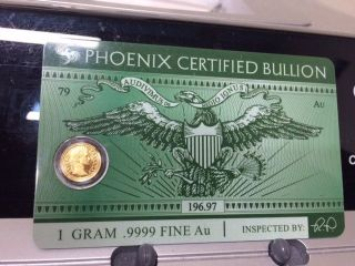 1 Gram 24kt Gold 999.  9 Phoenix Certified Bullion Assay Card Track Value With App photo