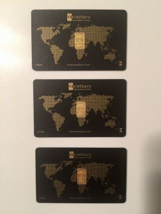 Karatbars (3) One Gram 999.  9 Fine Gold Cards photo