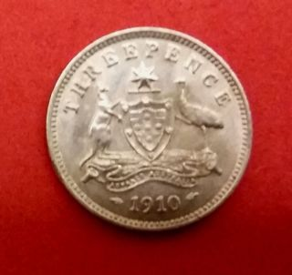 Australia 1910 3 Pence Silver Xf/au Coin. photo