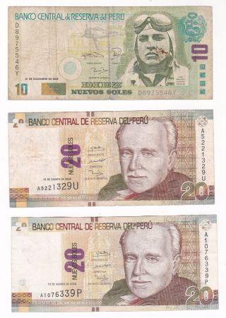Peru: Banknote - 1 X 10 & 2 X 20 Nuevos Soles 2006 & 2009 (a214) photo
