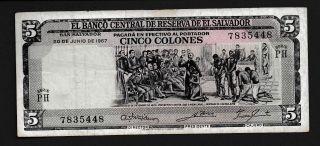 El Salvador 5 Colones,  P 109 Vf Circulated 1967,  Summer Special Discount 10 photo