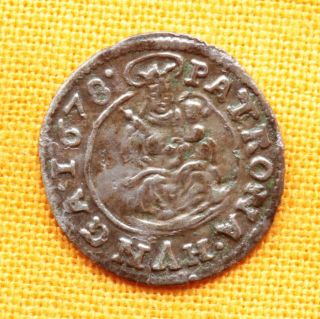 Medieval Hungarian Coin - Leopold Silver Denar 1678.  Kb.  Madonna And Baby Jesus photo
