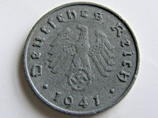Ww2 1941 A German 10 Rp Reichspfennig 3rd Reich Nazi Coin photo