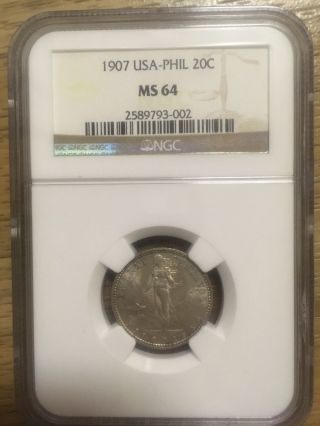 1907 20c Us Philippines Ngc Ms - 64 Top Pop Rare photo