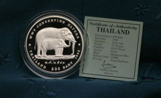 Thailand 200 Baht 1998 Silver Proof Coin Thai Rama Ix World Wildlife Elephant photo