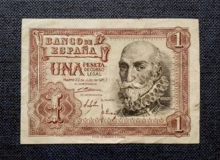 Spain EspaÑa 1 Peseta 1953 Banknote - Marques De Santa Cruz photo