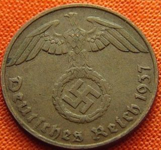 Ww2 German 1937 - G 1 Rp Reichspfennig 3rd Reich Bronze Nazi Coin (rl 1951) photo