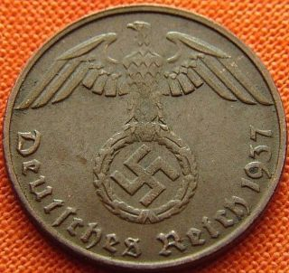 Ww2 German 1937 - D 1 Rp Reichspfennig 3rd Reich Bronze Nazi Coin (rl 1949) photo
