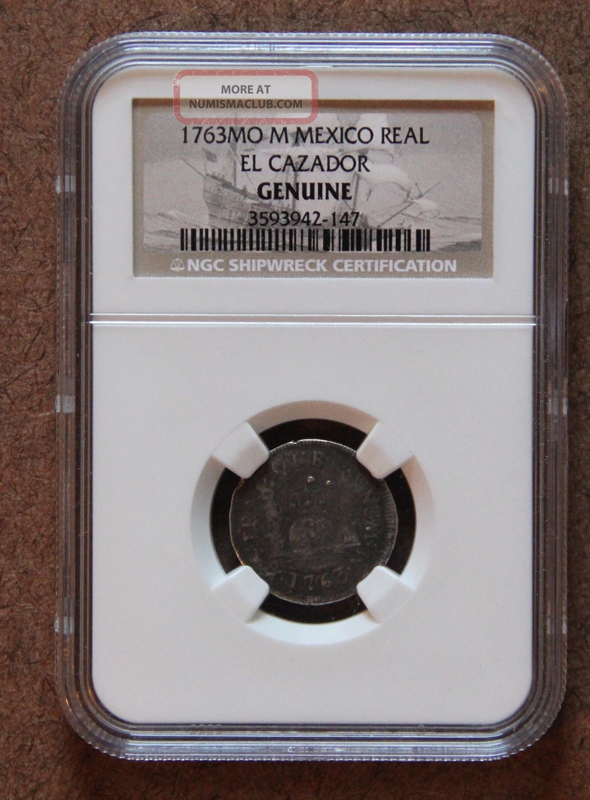 1763 Mo Milled Pillar One Real Spanish Shipwreck El Cazador Ngc Certified Mexico photo
