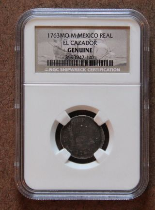 1763 Mo Milled Pillar One Real Spanish Shipwreck El Cazador Ngc Certified photo