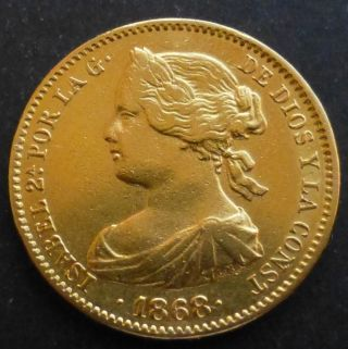 Spain Gold 10 Escudos 1868 (68) Km 636.  1; 8.  387 Grs.  Gold 0.  900 photo