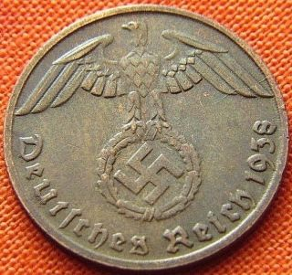 Ww2 German 1938 - D 1 Rp Reichspfennig 3rd Reich Bronze Nazi Coin (rl 1953) photo