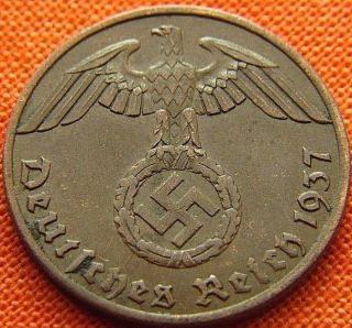 Ww2 German 1937 - A 1 Rp Reichspfennig 3rd Reich Bronze Nazi Coin (rl 1947) photo