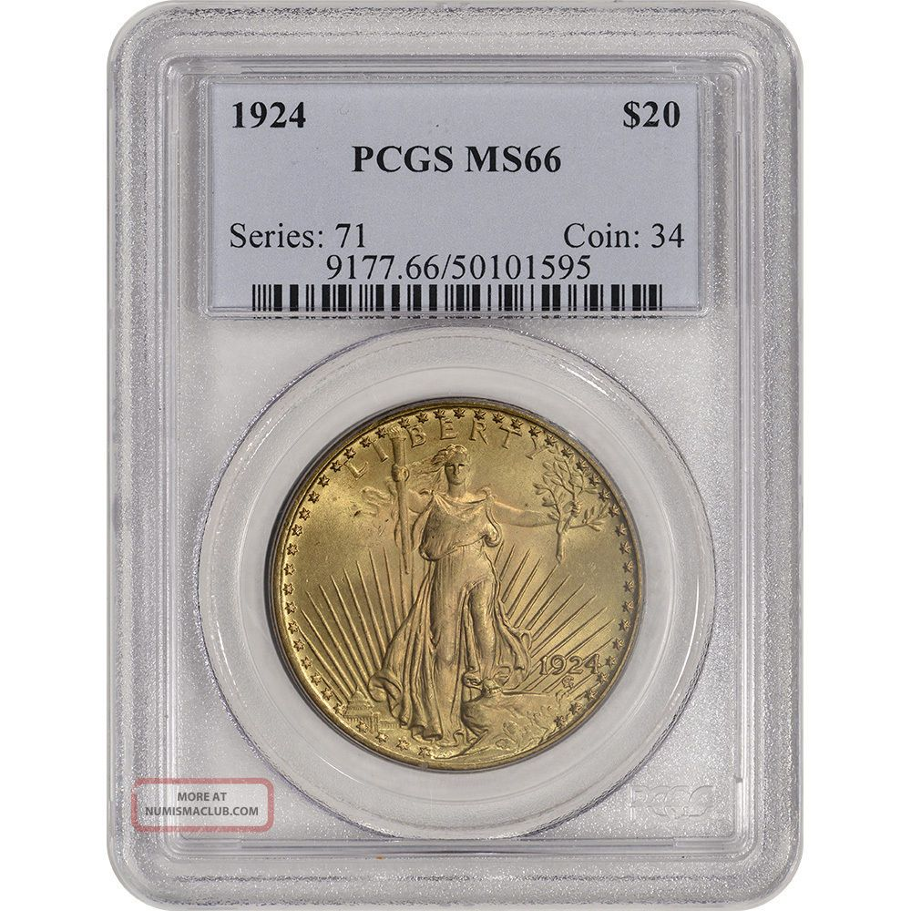 1924 Us Gold $20 Saint - Gaudens Double Eagle - Pcgs Ms66 Gold photo