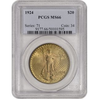 1924 Us Gold $20 Saint - Gaudens Double Eagle - Pcgs Ms66 photo