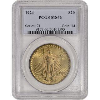 1924 Us Gold $20 Saint - Gaudens Double Eagle - Pcgs Ms66 photo