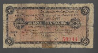 Mexico,  Banco De Jalisco,  50 Centavos,  1914 Guadalajara photo