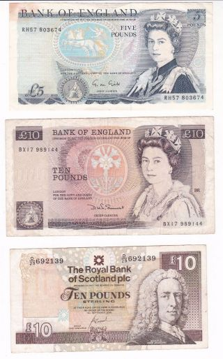 Uk - Great Britain - Scotland: Banknote - 5 Pounds & 2 X 10 Pounds (a206) photo