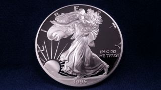 1995 Proof Silver Eagle W/ Box & photo