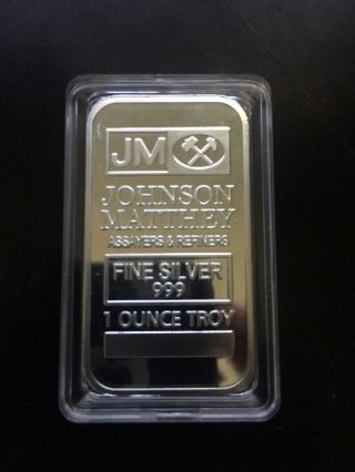 1oz Johnson Matthey Silver Bar.  999 photo