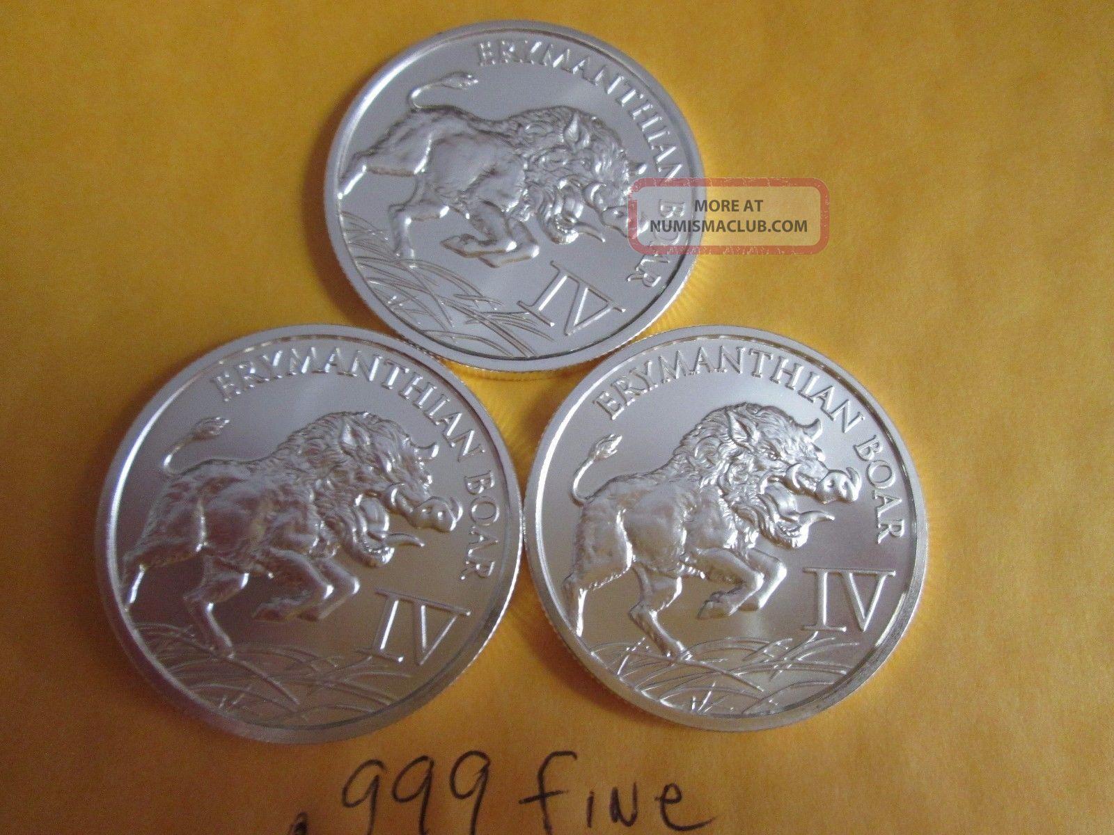 3 X 1 Oz.  999 Silver Erymanthian Wild Boar Pig Hog Bullion Round Silver photo