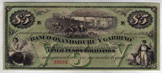 Argentina El Banco Oxandaburu Y Garbino 5 Pesos Bolivianos 1869,  Unc photo