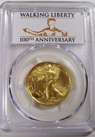 2016 - W Gold Walking Liberty Half Dollar First Strike Sp70 Pcgs Centennial Label photo