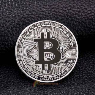 Gold Plated Physical Bitcoins Casascius Bit Coin Btc With Case Art Gift Silver photo