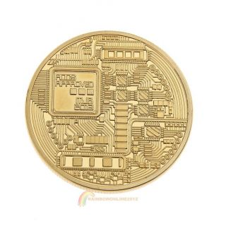 Gold Plated Physical Bitcoins Casascius Bit Coin Btc With Case Holiday Gift Gold photo