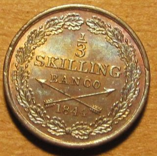 Sweden 1844 1/3 Skilling Pretty Choice Bu With Toning & Luster photo