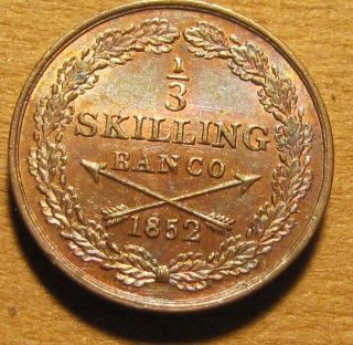 Sweden 1852 1/3 Skilling Gorgeous Near Gem Bu W/ Toning & Luster photo