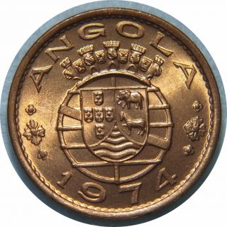 Angola 1 Escudo 1974 Km 82 Bronze F75 photo
