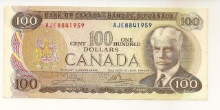 Canada 1975 $100 Bc - 52b Crow - Bouey Prefix Aje8841959 Au/unc Note photo