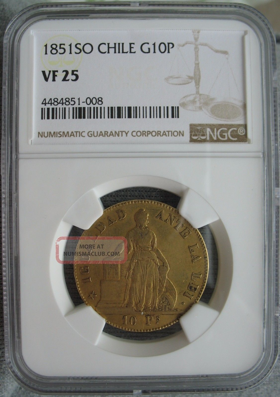 1851 So Chile Gold 10 Pesos Ngc Vf - 25 Coins: World photo