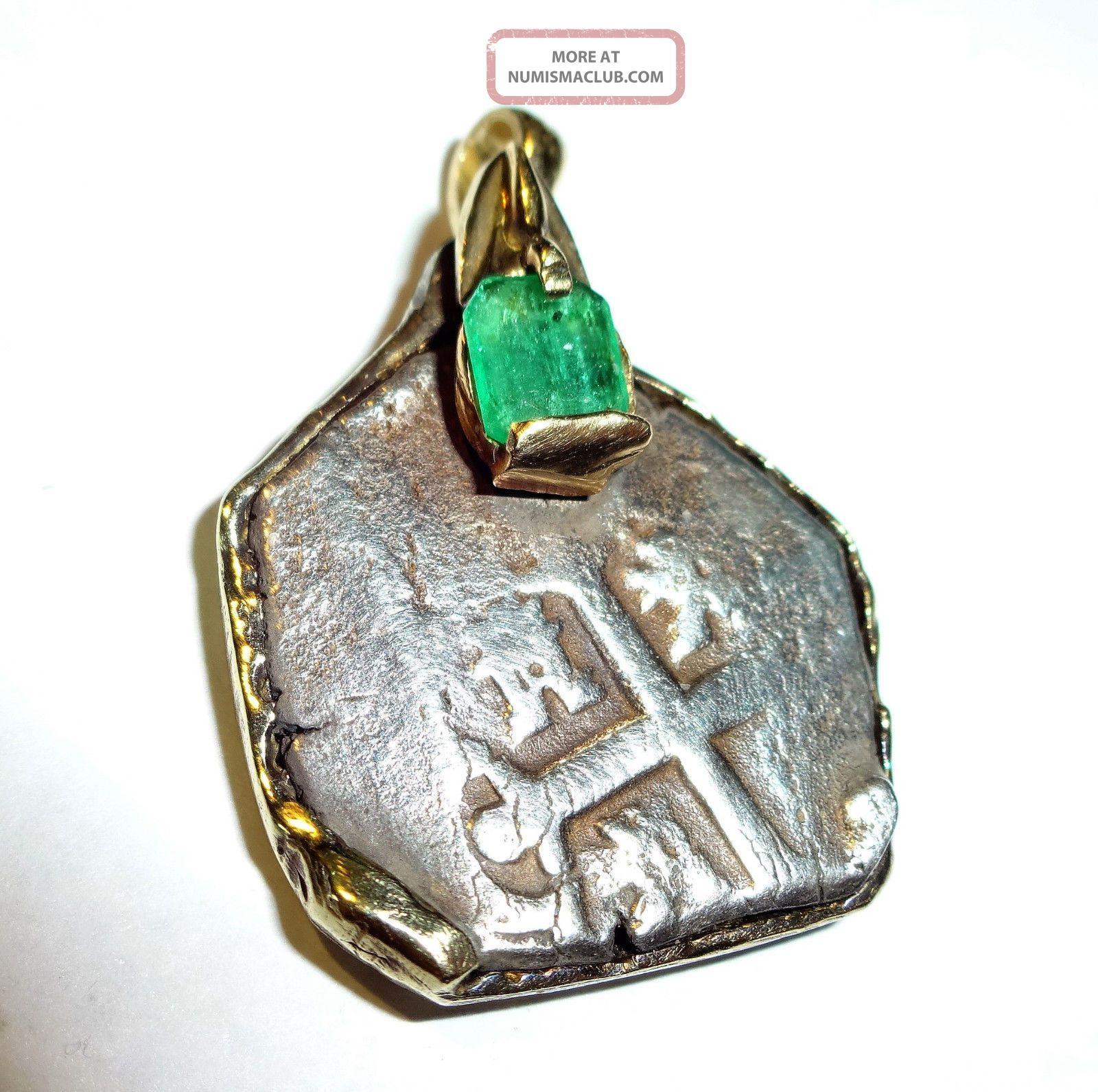 Silver Spanish 2 Reales Treassure Cob Coin 14k & Emerald Pendant No Resv South America photo