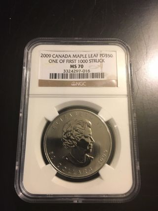 2009 Canada Palladium Maple Leaf Pd$50 Ms 70 Ngc.  Becoming Rarer Than Platinum photo